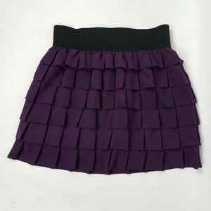 ANTHROPOLOGIE Floreat Purple Tiered Skirt Small